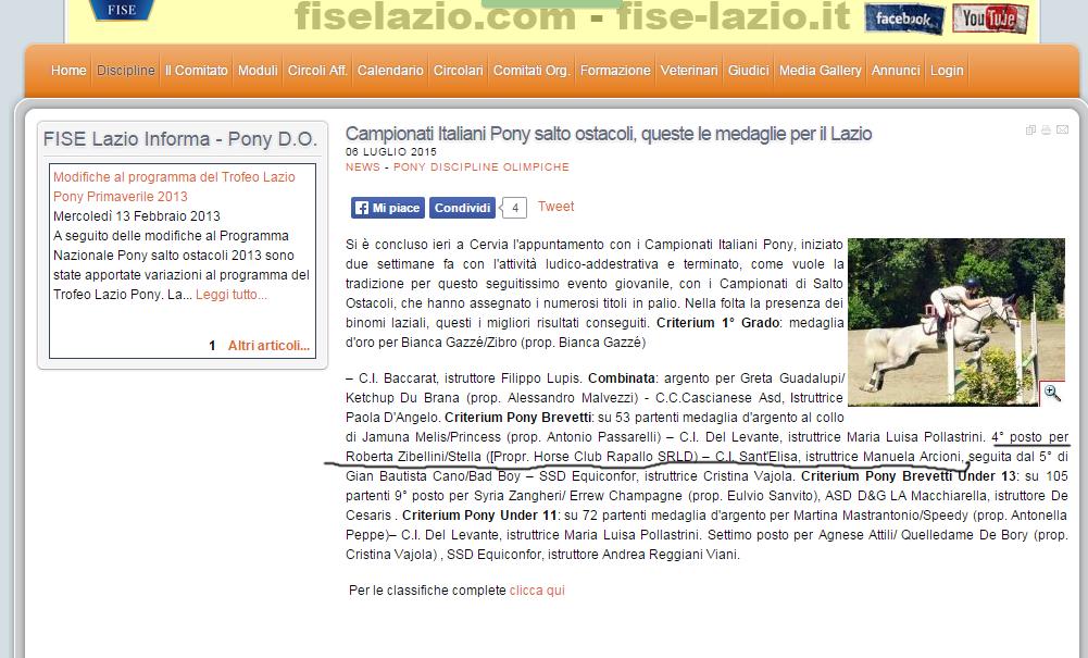 Fise Lazio Calendario.Il Medagliere Nella Disciplina Del Salto Ostacoli Casale